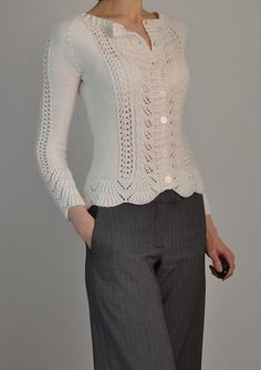 """Knitting pattern for Rambling Rose Cardigan This is barce's one-color version of Laura Zukaite's lace long-sleeved cardigan, originally designed for two colors. 30 (43)"""" bust circumference"""