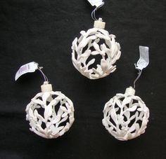 3 X White 3D Filigree Baubles Christmas Tree Hanging Decorations | eBay