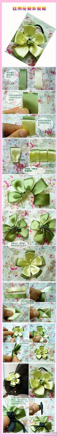 Surprise DIY: ribbon flower for hair accessories and other things Ribbon Art, Diy Ribbon, Ribbon Crafts, Flower Crafts, Ribbon Bows, Diy Crafts, Ribbon Flower, Ribbons, Handmade Flowers