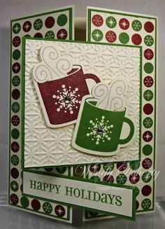"splitcoaststampers cards that fold | Tri-Fold ""Happy Holidays"" Christmas Cocoa Card... Wdoherty - Cards and ..."