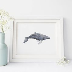 Add some beach style to your home with this hand painted humpback whale art print. It's the perfect way to compliment any nautical home decor.