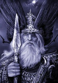 Odin, arrayed for battle armed with Gungnir and flanked by Hunin and Munin. The Norse did not believe their gods immortal. Even Odin, the chief of their pantheon was fated to die at Ragnarok, fighting the all-devouring Wolf, Fenrir. Pagan Gods, Norse Pagan, Thor, Viking Art, Viking Warrior, Fenrir Tattoo, Odin Norse Mythology, Symbole Viking, Richard Wagner