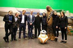 Royal visit on the set of Episode 8:  (left to right) Mark Hamill (Luke Skywalker), director Rian Johnson, Prince Harry, Prince William-Duke Of Cambridge, John Boyega (Finn), Joonas Suotamo (Chewbacca), Daisy Ridley (Rey) and producer Kathleen Kennedy