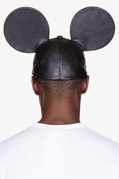 COMME DES GARÇONS HOMME PLUS Black leather Mouse Ears cap
