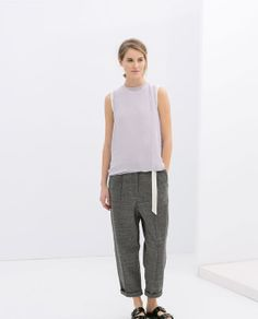 ZARA - WOMAN - VELOUR TROUSERS WITH DARTS