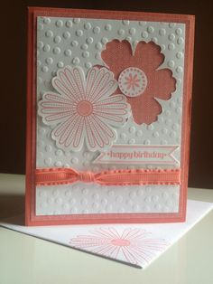 "birthday - Decorative Dots textured impressions; Itty Bitty Banners; Mixed Bunch (calypso coral base; designer series paper 4x5-1/4""; whisper white 3-3/4x5""; whisper white 1x2"")- stampin up card"