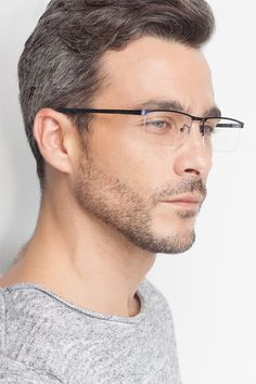 Chute Black Metal Eyeglasses from EyeBuyDirect. Come and discover these quality glasses at an affordable price. Find your style now with this frame. Bald Men Style, Titanium Eyeglass Frames, Bald With Beard, Emo Guys, Black Rectangle, Beautiful Men Faces, Haircuts For Men, Men Hairstyles, Classy Men