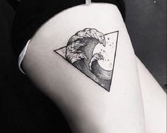 Yet another wave crashing Triangle Glyph Tattoo design. You can see that there are four waves in various sizes within the triangle symbol. They look perfectly in sync with each other and make up on beautiful big wave.