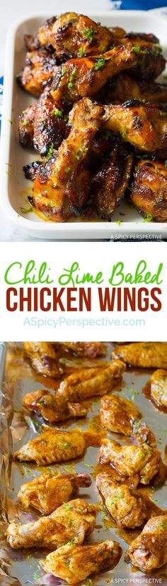 Chili Lime Baked Chicken Wings Recipe: It's easy, big on flavor, yet quick to make! This simple oven chicken wings recipe is rich and tangy. #ASpicyPerspective #Chicken #Wings #ChickenWings #ChickenWingsRecipe #BakedChickenWings #BakedChickenWingsRecipe #ChiliLime #Chili #Lime #SuperBowl #Paleo #GlutenFree Turkey Recipes, New Recipes, Cooking Recipes, Favorite Recipes, Disney Recipes, Disney Food, Baked Chicken Wings, Chicken Wing Recipes, Oven Chicken