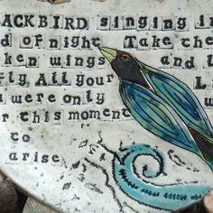 Blackbird Wall Plate with Beatles Lyrics  custom by terraworks