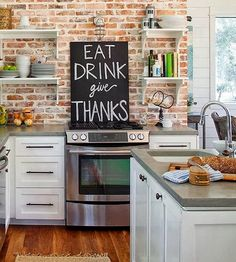 If you looking rustic, stylish and different backsplash, then go for brick kitchen backsplash. A brick kitchen backsplash is a wonderful idea. Easy Kitchen Updates, Updated Kitchen, New Kitchen, Kitchen Decor, Kitchen Colors, Narrow Kitchen, Kitchen Rustic, Kitchen White, Kitchen Walls