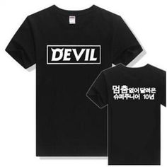 Devil Super Junior Kpop Korean Style  Super Junior Clothes Ulzzang Harajuku K-pop K Pop Hip Hop Rock Letter Tshirt   #Affiliate