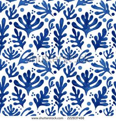 Seamless floral pattern, amazing blue plant and circles on a white background.  - stock photo