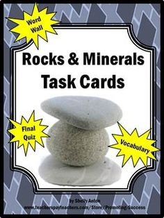 Science Rocks & Minerals 68 Task Cards and Quiz