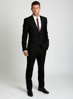 Black Plain Slim Fit Suit... and suit for Eric. Damn... he's gunna look good in this one day!