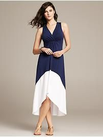 Colorblock Draped Patio Dress