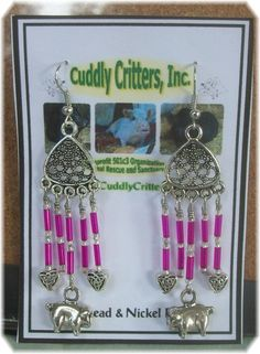 Tibetan Silver Pigs & Hearts Dangle Earrings - Pink – Unique Handmade in USA #Handmade #Chandelier