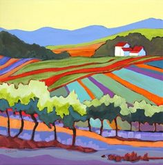 Contemporary landscape painting Namaste Vineyards, painting by artist Carolee Clark
