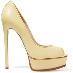 Casadei Leather pumps ($290) ❤ liked on Polyvore featuring shoes, pumps, pastel yellow, high heel shoes, platform pumps, leather platform pumps, yellow peep toe pumps and leather slip on shoes