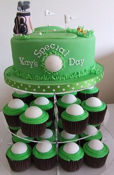 birthday, golf ball, golf cakes, cake golf, cupcak tower, sport cupcakes, groom cake, cupcake towers, ball cupcak