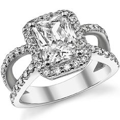 Radiant Moissanite Halo Split Shank Engagement Ring. Love everything about this ring - but make that a real diamond!