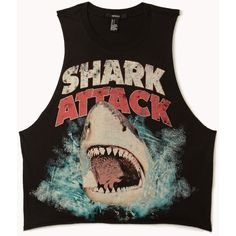 FOREVER 21 Shark Attack Muscle Tee ($14) found on Polyvore