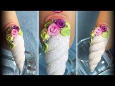 UÑAS con Flores de ACRILICO en 3D y técnica RUSA - YouTube