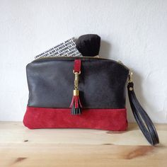 Natural leather purse / 100% repurposed leather / mini clutch bag / make up bag.