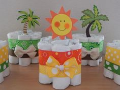 Tropical Beach Mini Diapers Baby Shower Centerpieces - ColorfulBows - 2
