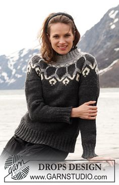 "Knitted Ladies' Cardigan Pattern in DROPS ""Alaska"" with Norwegian Design - FREE Knitting Pattern Knitted Cape Pattern, Sweater Knitting Patterns, Cardigan Pattern, Knit Patterns, Drops Design, Fair Isle Knitting, Free Knitting, Icelandic Sweaters, Drops Patterns"