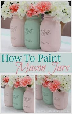 How to paint mason jars. A step-by-step tutorial. Creating a beautiful & inexpensive centerpiece with painted mason jars. Mason Jar Projects, Mason Jar Crafts, Bottle Crafts, Bottles And Jars, Glass Jars, Cute Crafts, Kids Crafts, Kids Diy, Decor Crafts