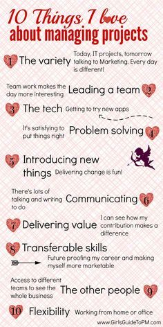 10 Things I Love About Managing Projects Girls Guide to Project Management - Business Management - Ideas of Business Management - 10 Things I Love About Project Management infographic Program Management, Change Management, Time Management Tips, Business Management, Risk Management, Project Management Professional, Business Analyst, Business Education, Problem Solving