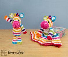 Combo Pack - Rainbow Zebra Lovey and Amigurumi Set for Dollars - PDF Crochet Pattern - Instant Crochet Lovey, Crochet Baby Toys, Crochet Diy, Crochet Blanket Patterns, Crochet Animals, Baby Blanket Crochet, Crochet Crafts, Crochet Dolls, Crochet Projects
