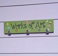 Childrens Artwork Hanger, Childrens Artwork Clipboard, Works of Art Display Board, Kids Artwork Display, Handpainted Wood Sign