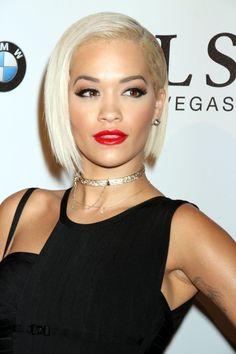 Rita Ora short asymmetric A-line bob
