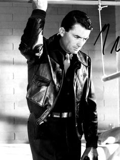 """Gregory Peck in """"Twelve O'Clock High"""" So Handsome Gregory Peck, Golden Age Of Hollywood, Classic Hollywood, Old Hollywood, Leather Flight Jacket, Men Are Men, Masculine Style, Movie Stars, Gentleman"""