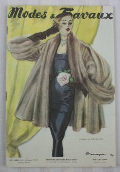 Modes & Travaux 1954 french fashion magazine, Revillon coat and evening dress, fashion news. Three patterns