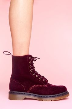 Doc Martens red velvet 8 eye boot  This is the only exception that I would make for wearing velvet