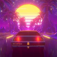 Driving de lorean on the moon palms futuristic art new retro wave synthwave video by visualdon Cyberpunk Aesthetic, Cyberpunk City, Neon Aesthetic, Aesthetic Fashion, New Retro Wave, Retro Waves, Neon Wallpaper, Scenery Wallpaper, Aesthetic Backgrounds