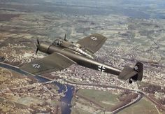 German Blohm und Voss Bv 141, Nice color view of the craft in flight. This also gives a good view of the asymmetric rear stabilizer