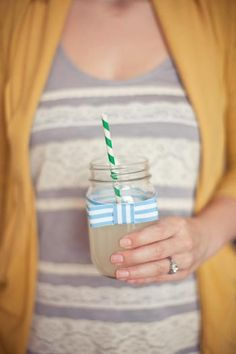 Striped straws and jars