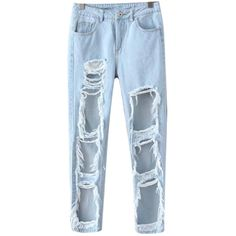 Chicnova Fashion Boyfriend Jean (€20) ❤ liked on Polyvore featuring jeans, pants, bottoms, relaxed boyfriend jeans, boyfriend jeans, blue ripped jeans, distressed jeans and torn jeans