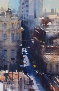 Lost Bear Gallery - Fine Art Gallery in the Blue Mountains - Alvaro Castagnet Watercolor City, Watercolor Sketch, Watercolor Artists, Watercolor Landscape, Watercolour Painting, Watercolours, 7 Arts, City Scene, Urban Landscape