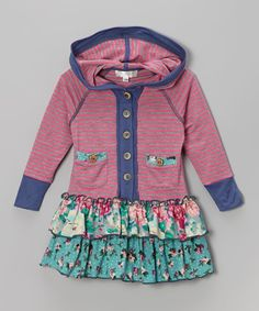 Take a look at this Pink Stripe Floral Hooded Dress - Toddler & Girls on zulily today!