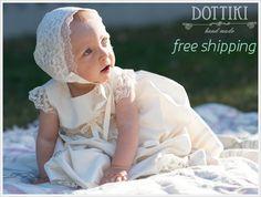 Silk Christening Gown  Baptism Dress Blessing by DOTTIKI on Etsy