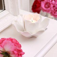 Porcelain Rose Candle Holder http://www.handpickedcollection.com/porcelain-rose-candle-holder.html
