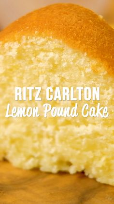 Ritz Carlton Lemon Pound Cake - the only from scratch Lemon Pound Cake recipe you will ever need! It tastes amazing! This recipe never lets me down. Lemon Desserts, Delicious Desserts, Yummy Food, Recipes With Lemon Curd, Lemon Recipes Baking, Lemon Curd Dessert, Puff Pastry Desserts, Cake Mix Desserts, Desserts For A Crowd