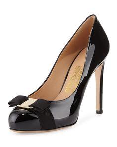 Salvatore Ferragamo Pimpa Patent Bow Pump, Nero, Women's, Size: 36 EU (6B US)