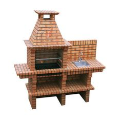 Beautifully built brick BBQ with sink and gril. Comes complete and ready for DIY in a pallet. Steel plated grill and stainless steel sink are included in the quoted price Outside Sink, Bbq Store, Brick Grill, Diy Grill, Bbq Diy, Outdoor Grill Station, Barbecue Design, Door Gate Design, Outdoor Oven