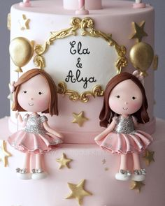 Little ladies 🎀 Baby Girl Birthday Cake, Birthday Wishes For Kids, Baby Girl Cakes, Themed Birthday Cakes, Cupcakes, Cupcake Cakes, Twins Cake, Cakepops, Bunny Painting